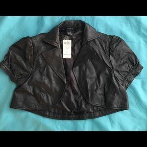 Arden B leather Cropped Bolero Jacket